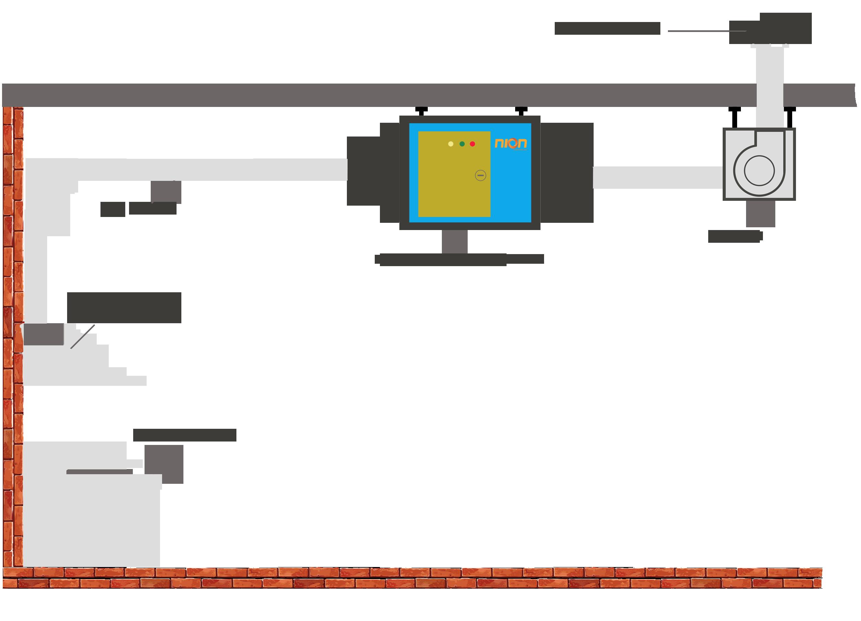Mô hình lắp đặt máy lọc tĩnh điện xử lý khói bếp nhà hàng.