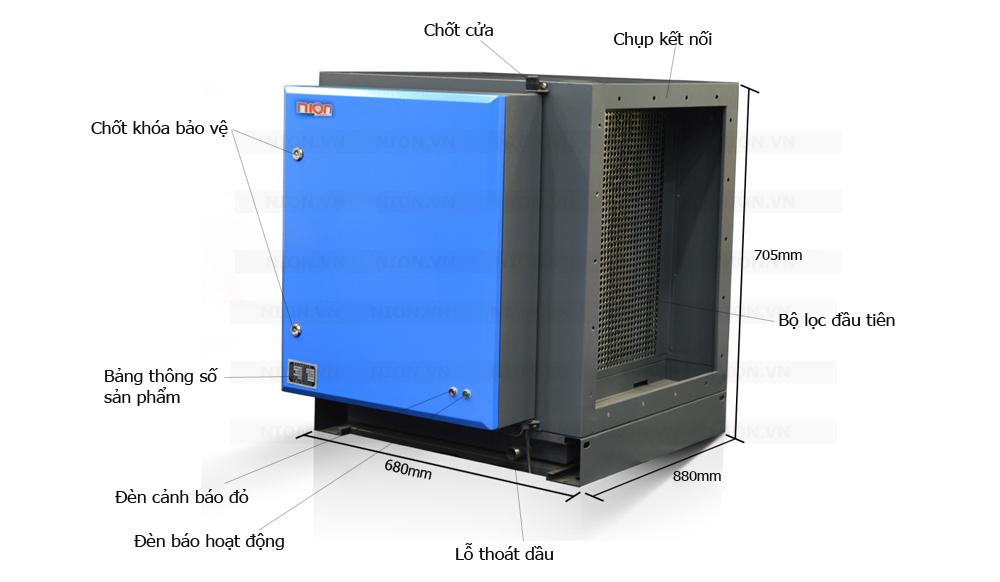 Kích thước Máy lọc tĩnh điện Nion 4000